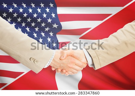 Businessmen shaking hands - United States and Denmark
