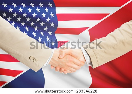 Businessmen shaking hands - United States and France