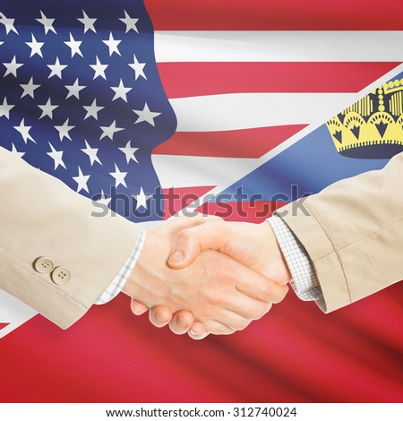 Businessmen shaking hands - United States and Liechtenstein