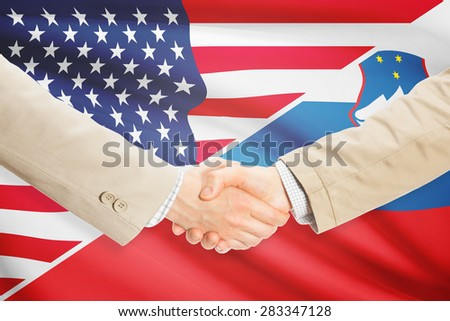 Businessmen shaking hands - United States and Slovenia