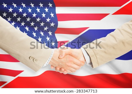 Businessmen shaking hands - United States and Thailand