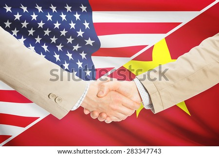 Businessmen shaking hands - United States and Vietnam