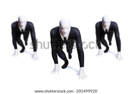 businessmen starting a race - stock photo