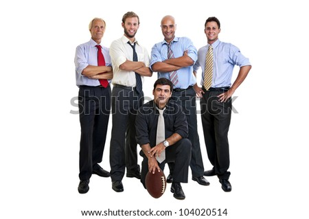 Businessmen team of rugby fans isolated in white - stock photo