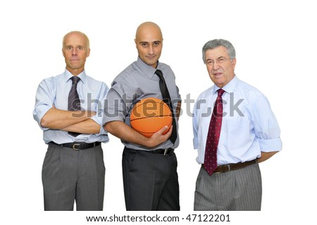 Businessmen team with basket ball isolated in white - stock photo