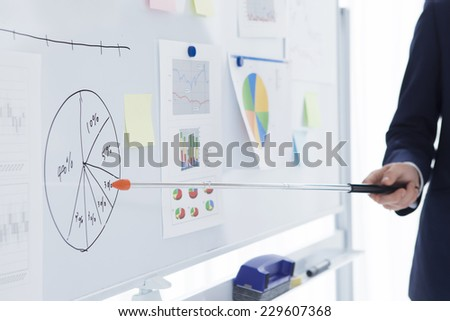 Businessmen to meetings using the white board - stock photo