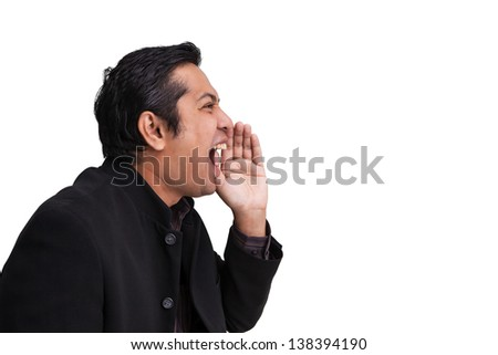 Businessmen very angry bawl - stock photo