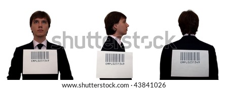 Businessmen with barcode, isolated on white. Humor concept - stock photo
