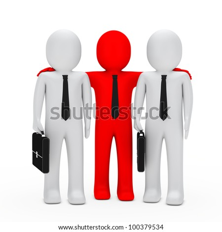 businessmen with black briefcase red leader - stock photo