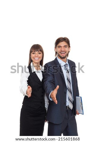businessmen with businesswoman handshake, two businesspeople hand shake, business people congratulating man and woman welcome gesture isolated over white background - stock photo