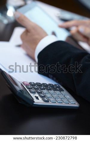 businessmen with digital tablet - stock photo