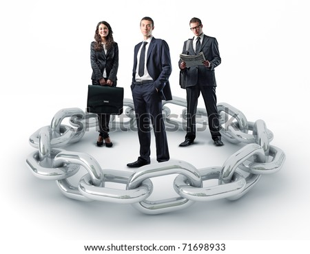 businesspeople and 3d metal chain