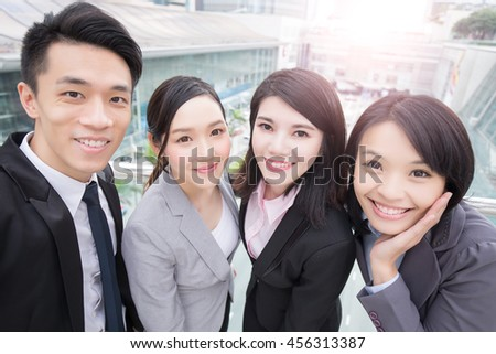 businesspeople are smile happily in hong kong, asian