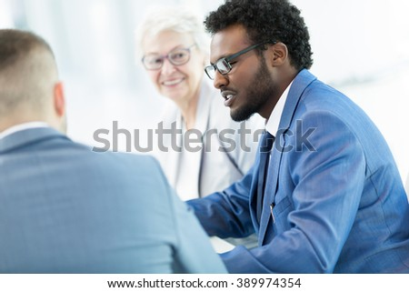 Businesspeople at a meeting in office