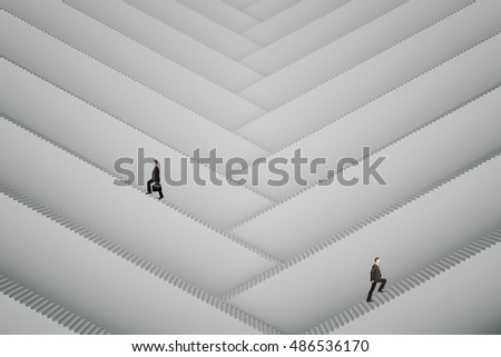 Businesspeople climbing abstract grey stairs. Success concept. 3D Rendering