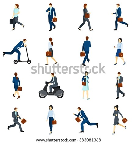 Businesspeople Going To Work Flat Icons Set - stock photo