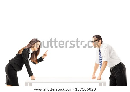 Businesspeople having a quarrel isolated on white background - stock photo