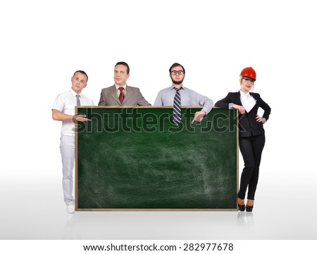 businesspeople holding blank green board on white background - stock photo
