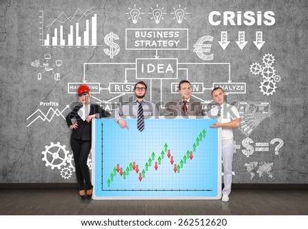 businesspeople holding plasma panel with forex chart - stock photo
