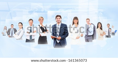 Businesspeople human resources concept, group of business people, businessman and businesswoman portrait over abstract blue background