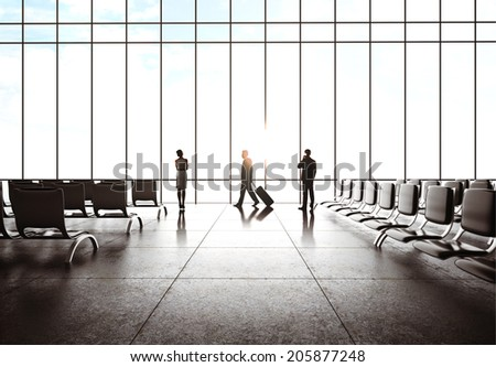 businesspeople  in airport and airplane in sky - stock photo