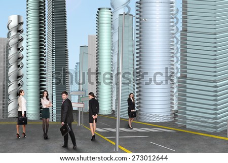 Businesspeople in the business center of the city - stock photo