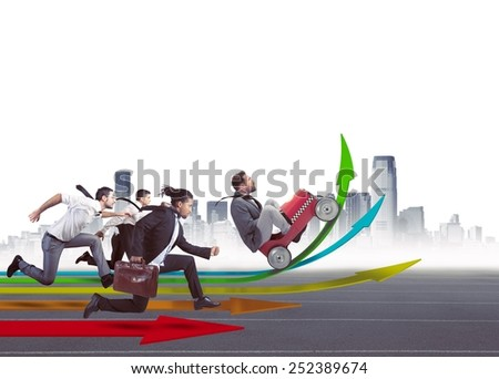Businesspeople in the direction of financial growth - stock photo