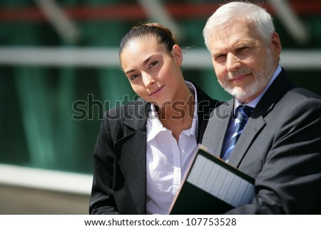 Businesspeople in the sunshine - stock photo