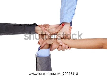 Businesspeople linking arms, demonstrating business unity.?