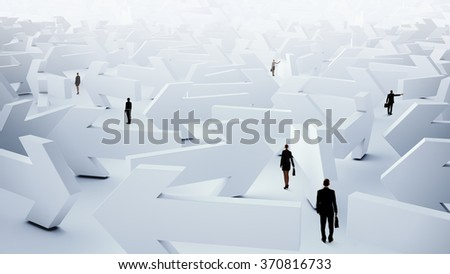 Businesspeople lost in maze