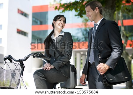 Businesspeople meeting outdoors