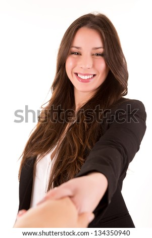 Businesspeople, or businesswoman and client handshaking - stock photo