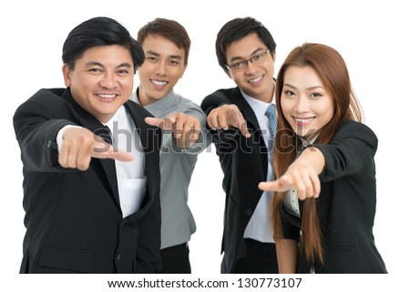 Businesspeople pointing at you isolated against a white background