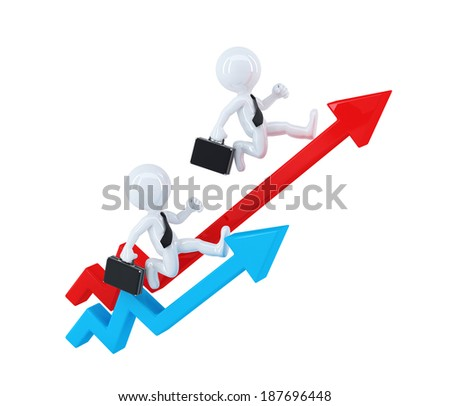 Businesspeople running over graph arrows. Business concept. Isolated. Contains clipping path - stock photo