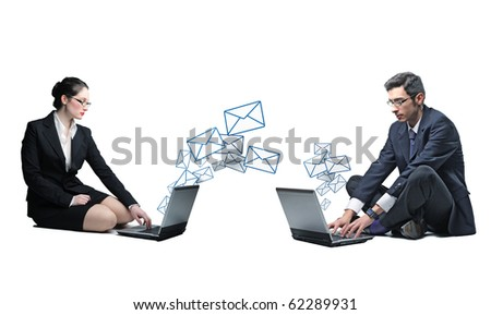 businesspeople send and receive email