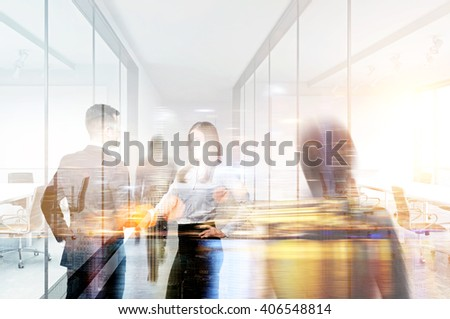 Businesspeople shaking hands in office. Double exposure - stock photo