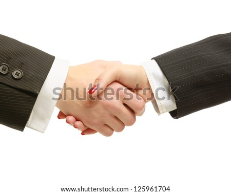 Businesspeople shaking hands isolated on white Background