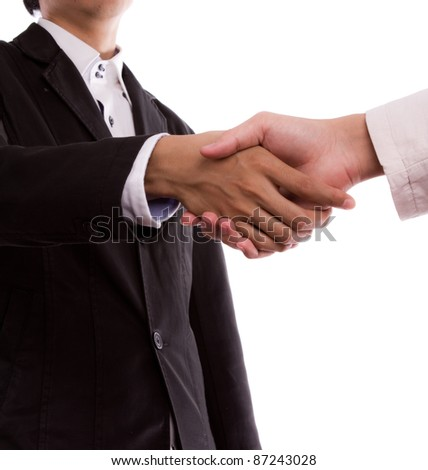 Businesspeople shaking hands on white background - stock photo
