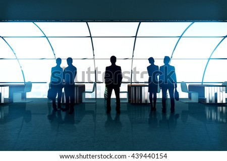Businesspeople silhouettes in bright office interior with panoramic windows. Concept of partnership and teamwork. 3D Rendering - stock photo