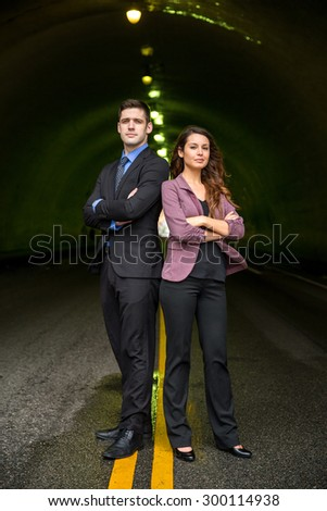 Businesspeople team standing powerful confident conceptual interesting hollywood advertising - stock photo