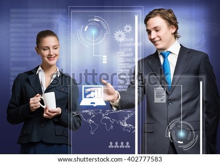 Businesspeople using modern technologies