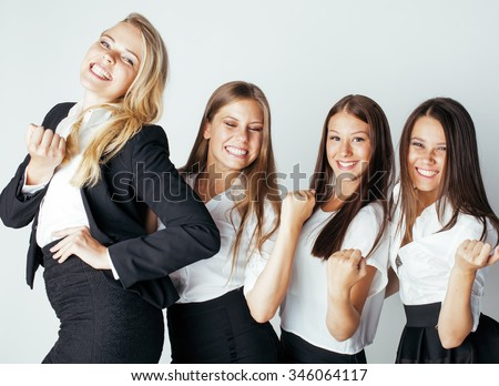 businesspeople women team talking gesture celebrating sucsess emotional on white background smiling