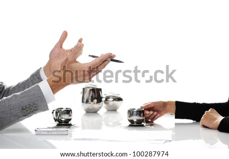 businesspeople working and drinking coffee, Closeup of hands - stock photo