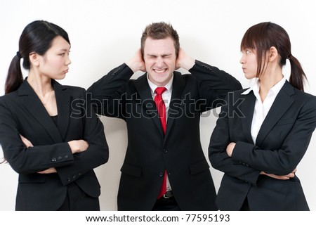 businessperson blaming with white background - stock photo
