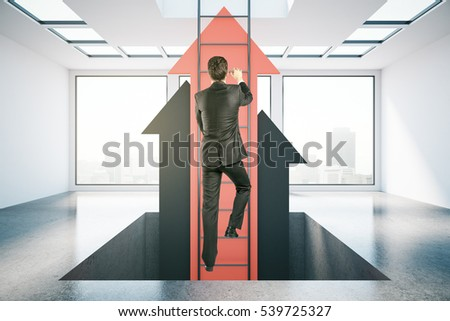 Businessperson in concrete room climbing abstract ladder with red arrows. Success concept. 3D Rendering