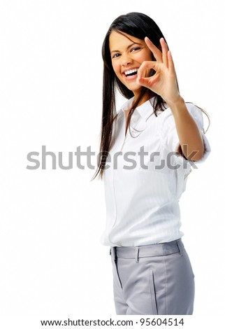 Businessperson shows OK hand sign in studio, isolated on white - stock photo