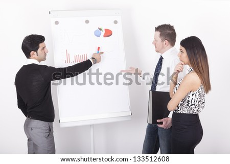 businessteam during a presentation in front of a flipchart. Studio shot on a white background.