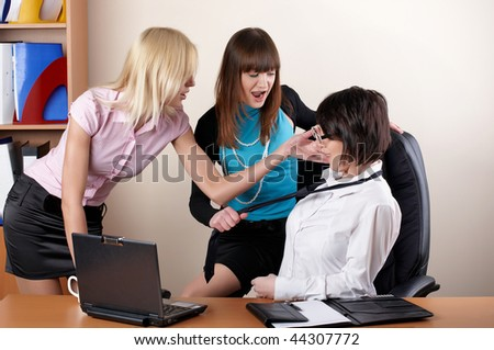 businessteam  from three charming young females at office