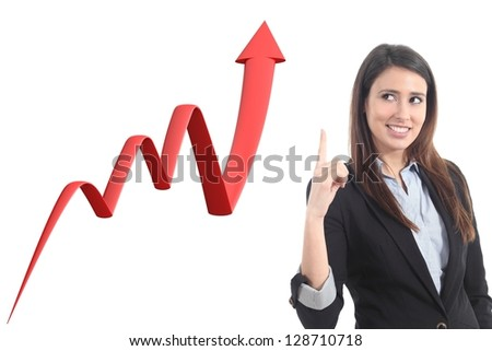 Businesswoman and a 3d render of a growth graph on a white isolated background