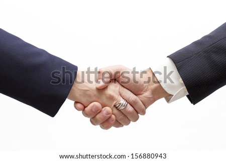 Businesswoman and businessman handshaking